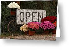 Open Sign With Flowers Fine Art Photo Greeting Card