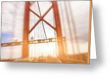Open Traffic Lane On A Bridge Greeting Card