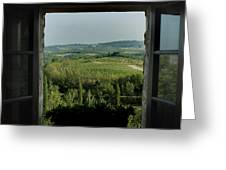 Open Window Looking Out On The Tuscan Greeting Card