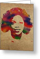 Oprah Winfrey Vintage 1978 Watercolor Portrait Greeting Card