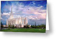 Oquirrh Mt Temple Greeting Card by La Rae  Roberts