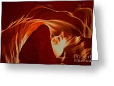 Orange Abstract At Upper Antelope Greeting Card
