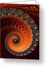 Orange And Aqua Spiral Greeting Card