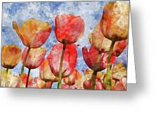 Orange And Yellow Tullips With Blue Sky Greeting Card
