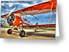 Orange Bi-plane Greeting Card by Dan Crosby