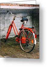 Orange Bicycle In The Street Greeting Card