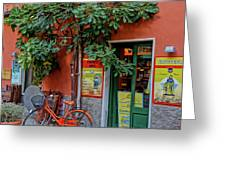 Orange Bicycle Wine Shop Monterosso Italy Dsc02584 Square Greeting Card