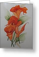 Orange Callas Greeting Card by Karin  Dawn Kelshall- Best