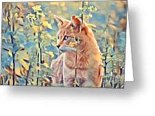 Orange Cat In Field Of Yellow Flowers Greeting Card