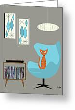Orange Cat In Turquoise Egg Chair Greeting Card