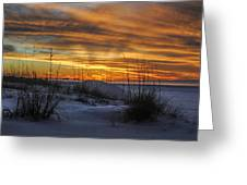Orange Clouded Sunrise Over The Pier Greeting Card