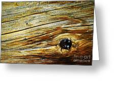 Orange Colored Old Wooden Board Greeting Card