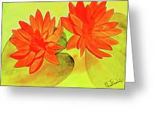 Orange Waterlily Watercolor Painting Greeting Card