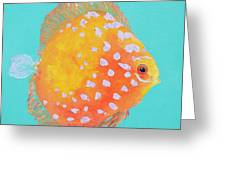 Orange Discus Fish With Purple Spots Greeting Card