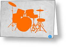 Orange Drum Set Greeting Card by Naxart Studio