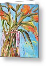 Orange Gladiolus In Vase Greeting Card
