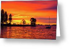 Orange Glow Sunset At Sunset Beach In Vancouver Bc Greeting Card