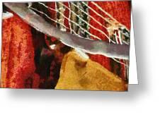 Orange Guitar Greeting Card