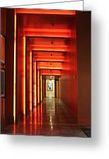Orange Hallway Greeting Card