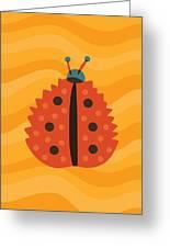 Orange Ladybug Masked As Autumn Leaf Greeting Card