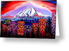 Orange Moon Over Mount Hood #1 Greeting Card