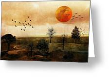 Orange Moon Greeting Card