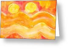 Orange Moons Greeting Card
