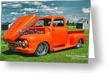 Orange Pick Up At The Car Show Greeting Card