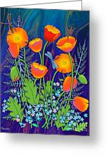 Orange Poppies And Forget Me Nots Greeting Card
