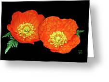 Orange Poppy Collage Cutout Greeting Card
