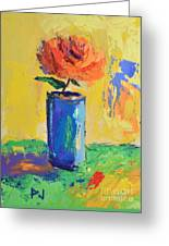 Orange Rose With Yellow Background Greeting Card