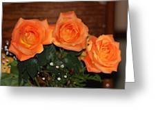 Orange Roses With Babysbreath Greeting Card