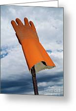 Orange Rubber Glove On A Wooden Post Against A Cloudy Sky Greeting Card