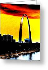 Orange Skies And The Arch Greeting Card