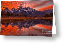 Orange Skies Over The Tetons Greeting Card