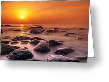 Orange Sunset Long Exposure Over Sea And Rocks Greeting Card