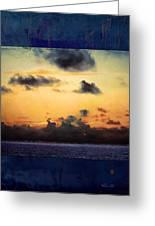 Orange Sunset Over Ocean Greeting Card