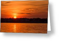 Orange Sunset Sky Island Heights Nj Greeting Card