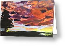 Orange Sunset Spectator Greeting Card