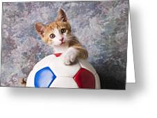 Orange Tabby Kitten With Soccer Ball Greeting Card
