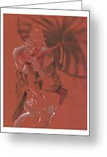 Orange Umbrella Greeting Card