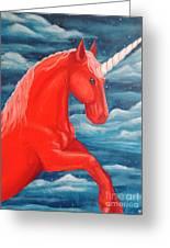 Orange Unicorn Greeting Card