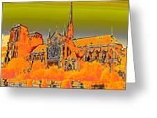 Orange Version Of Notre Dame Greeting Card