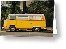Orange Vw Bus Greeting Card