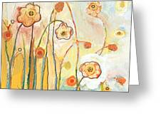 Orange Whimsy Greeting Card by Jennifer Lommers