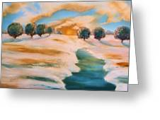 Oranges In The Snow-landscape Painting By V.kelly Greeting Card