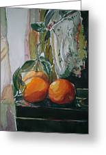 Oranges On Black  Greeting Card