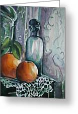 Oranges With Blue Bottle Greeting Card