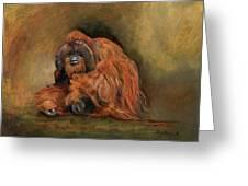 Orangutan Monkey Greeting Card