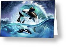 Orca Wave Greeting Card
